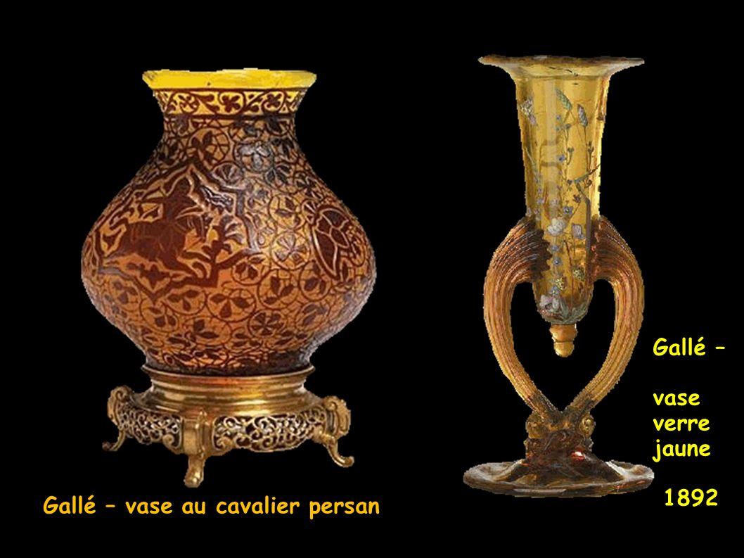 Gallé – vase au cavalier persan Gallé – vase verre jaune 1892
