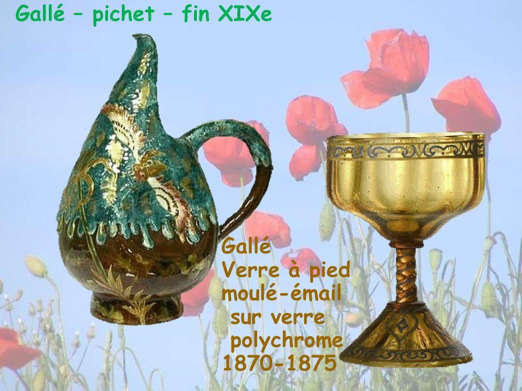 Gallé – pichet – fin XIXe Gallé Verre à pied moulé-émail sur verre polychrome 1870-1875