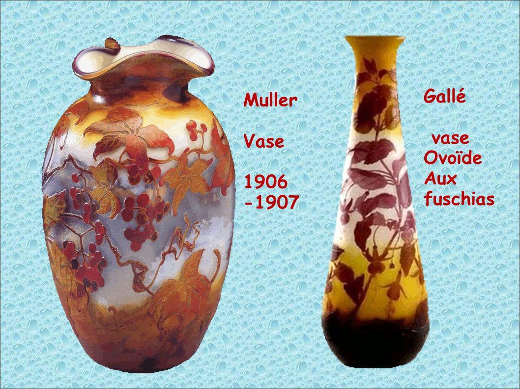 Gallé vase Ovoïde Aux fuschias Muller Vase 1906 -1907