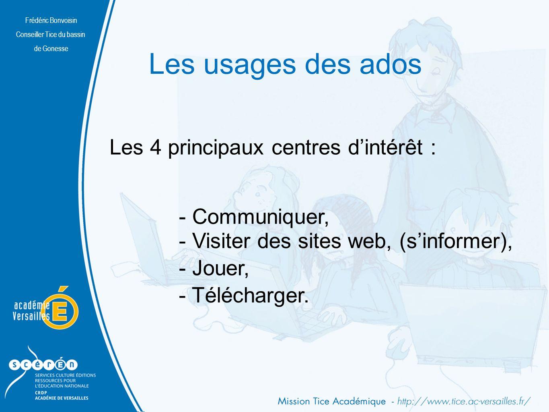 Frédéric Bonvoisin Conseiller Tice du bassin de Gonesse Les usages des ados Frédéric Bonvoisin Conseiller Tice du bassin de Gonesse - Communiquer, - Télécharger.