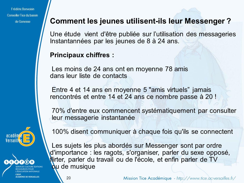 Frédéric Bonvoisin Conseiller Tice du bassin de Gonesse Comment les jeunes utilisent-ils leur Messenger .