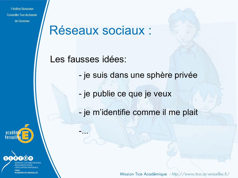 Frédéric Bonvoisin Conseiller Tice du bassin de Gonesse Réseaux sociaux : - je suis dans une sphère privée - je publie ce que je veux - je midentifie comme il me plait -...