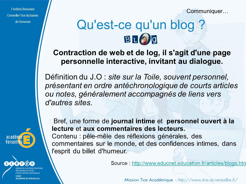 Frédéric Bonvoisin Conseiller Tice du bassin de Gonesse Bref, une forme de journal intime et personnel ouvert à la lecture et aux commentaires des lecteurs.