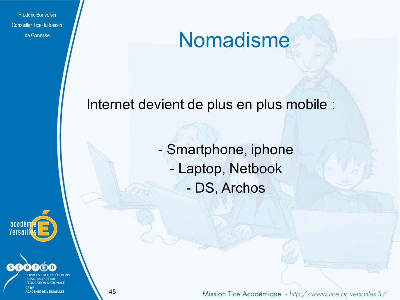 Frédéric Bonvoisin Conseiller Tice du bassin de Gonesse Nomadisme Frédéric Bonvoisin Conseiller Tice du bassin de Gonesse Internet devient de plus en plus mobile : - Smartphone, iphone - Laptop, Netbook - DS, Archos 45