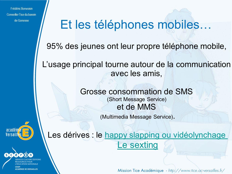 Frédéric Bonvoisin Conseiller Tice du bassin de Gonesse Et les téléphones mobiles… 95% des jeunes ont leur propre téléphone mobile, Lusage principal tourne autour de la communication avec les amis, Grosse consommation de SMS (Short Message Service) et de MMS (Multimedia Message Service).
