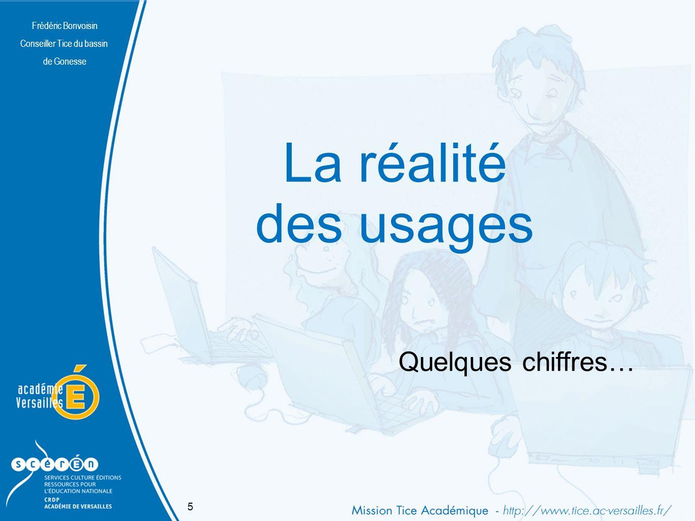 Frédéric Bonvoisin Conseiller Tice du bassin de Gonesse Internet en France, quelques chiffres Plus de 14 millions de foyers français ont un accès à Internet augmentation de 17% en un an 96% des jeunes Français de 15-17 ans et 77% des 6-17 ans déclarent utiliser très régulièrement Internet.