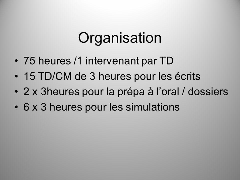 Organisation 75 heures /1 intervenant par TD 15 TD/CM de 3 heures pour les écrits 2 x 3heures pour la prépa à loral / dossiers 6 x 3 heures pour les s