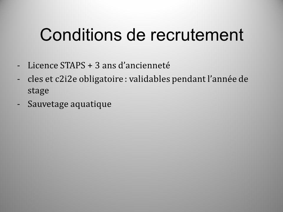 Conditions de recrutement -Licence STAPS + 3 ans dancienneté -cles et c2i2e obligatoire : validables pendant lannée de stage -Sauvetage aquatique