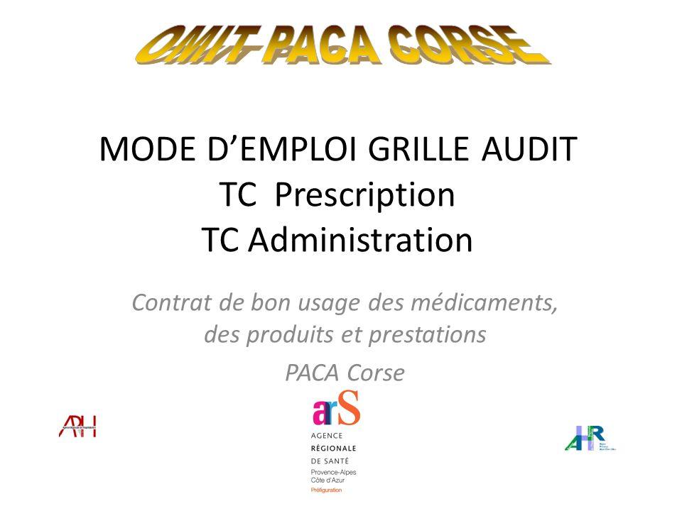 MODE DEMPLOI GRILLE AUDIT TC Prescription TC Administration Contrat de bon usage des médicaments, des produits et prestations PACA Corse