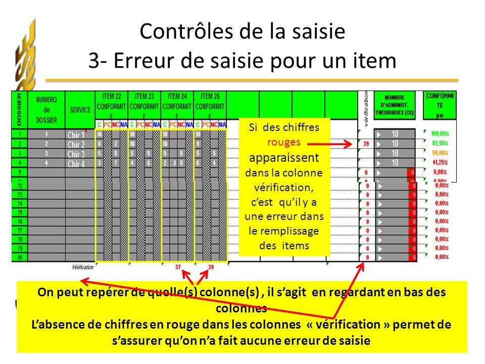 Contrôles de la saisie 3- Erreur de saisie pour un item On peut repérer de quelle(s) colonne(s), il sagit en regardant en bas des colonnes Labsence de