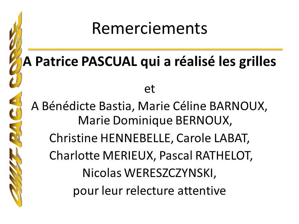Remerciements A Patrice PASCUAL qui a réalisé les grilles et A Bénédicte Bastia, Marie Céline BARNOUX, Marie Dominique BERNOUX, Christine HENNEBELLE,
