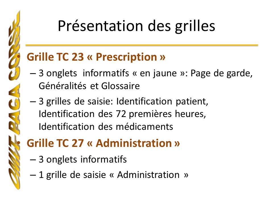 Présentation des grilles Grille TC 23 « Prescription » – 3 onglets informatifs « en jaune »: Page de garde, Généralités et Glossaire – 3 grilles de sa