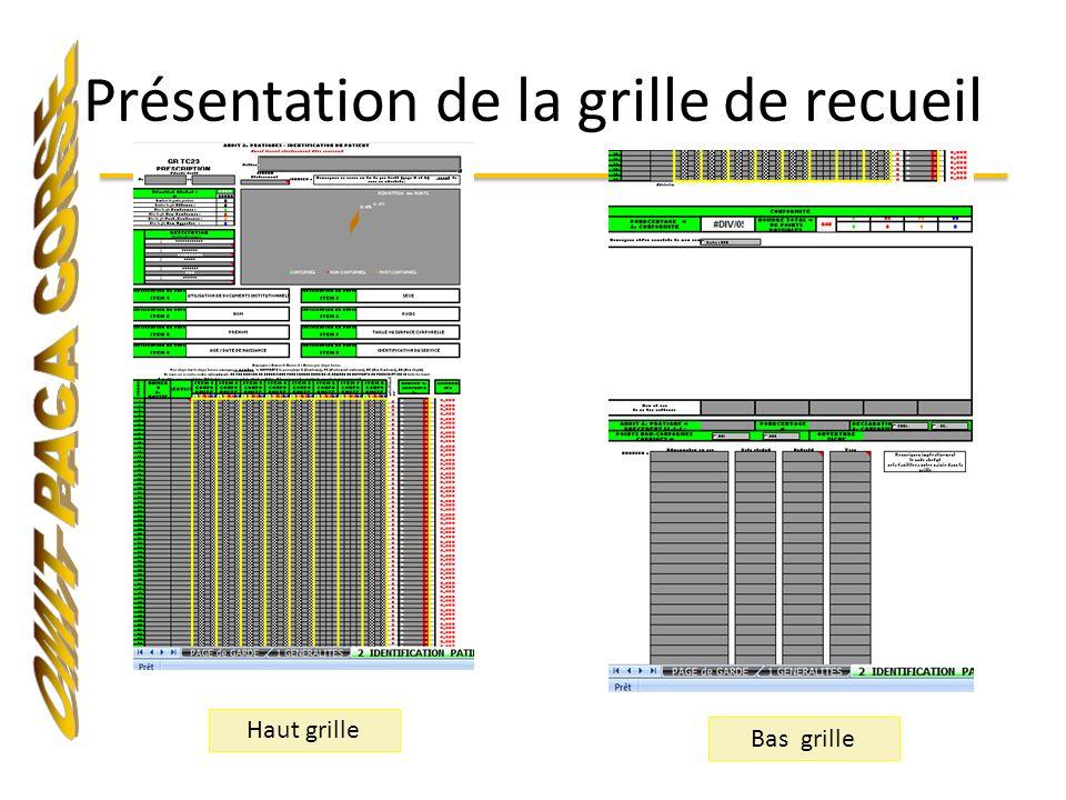 Présentation de la grille de recueil Haut grille Bas grille