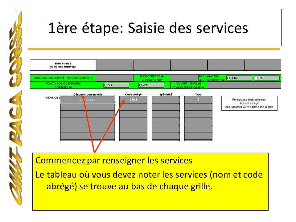 Commencez par renseigner les services Le tableau où vous devez noter les services (nom et code abrégé) se trouve au bas de chaque grille. 1ère étape: