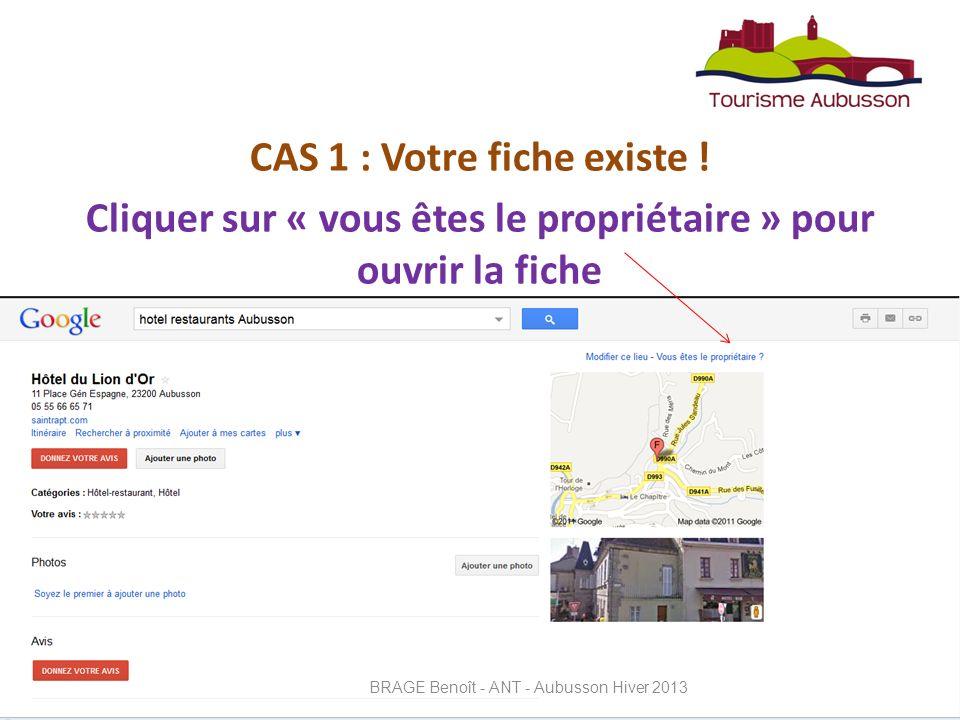 CAS 1 : Votre fiche existe .