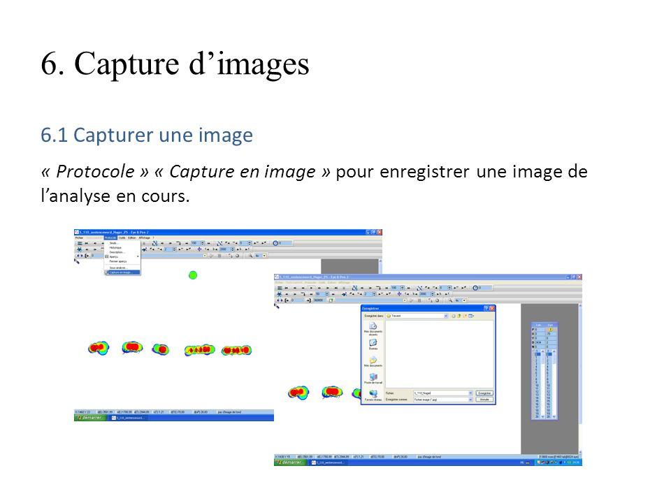 6. Capture dimages 6.1 Capturer une image « Protocole » « Capture en image » pour enregistrer une image de lanalyse en cours.