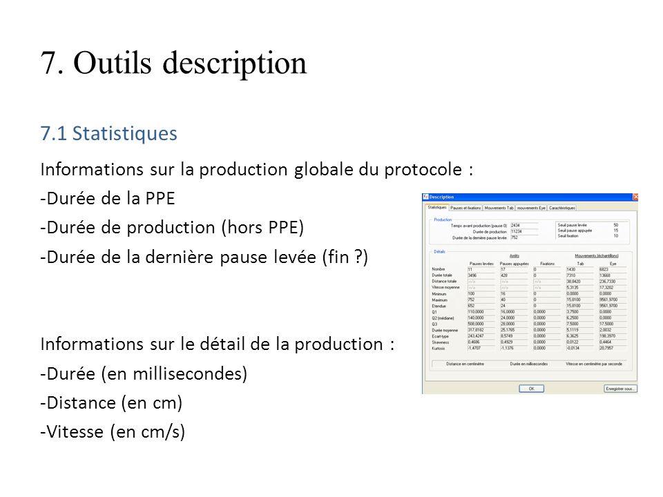 7. Outils description 7.1 Statistiques Informations sur la production globale du protocole : -Durée de la PPE -Durée de production (hors PPE) -Durée d