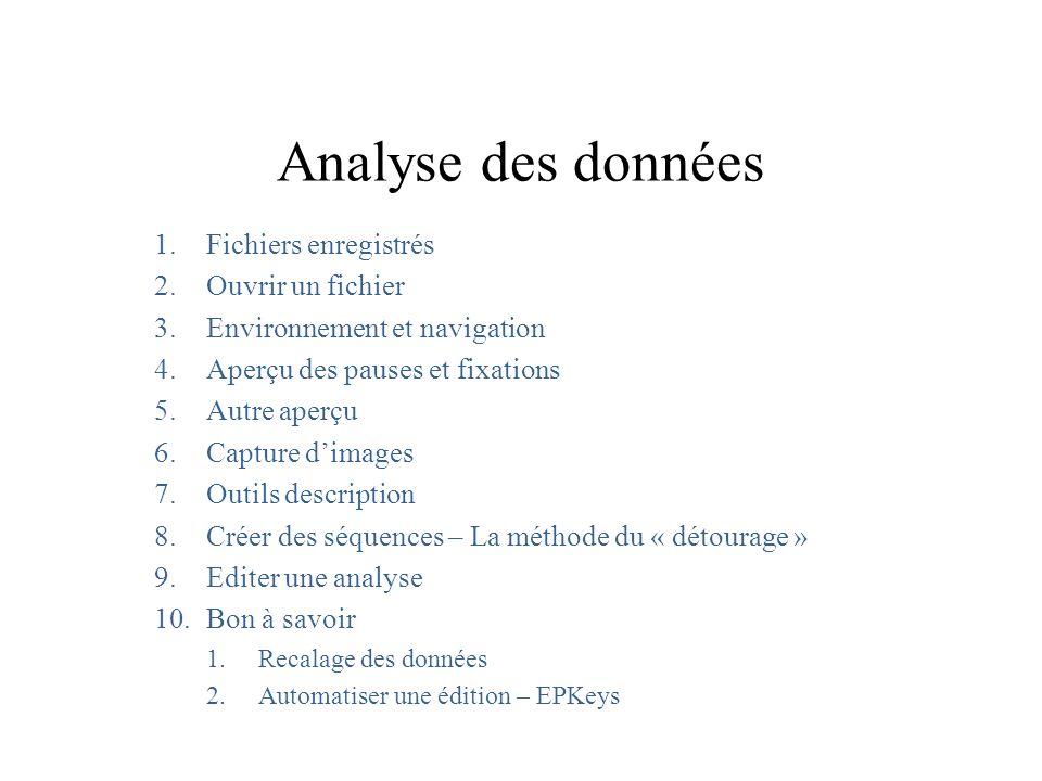 Analyse des données 1.Fichiers enregistrés 2.Ouvrir un fichier 3.Environnement et navigation 4.Aperçu des pauses et fixations 5.Autre aperçu 6.Capture