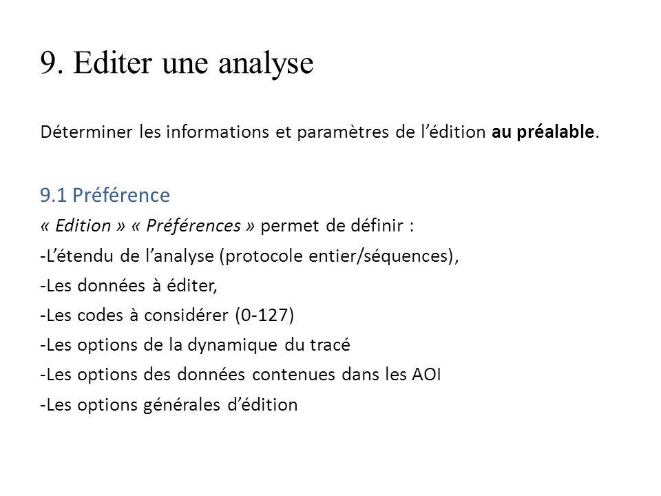 9. Editer une analyse Déterminer les informations et paramètres de lédition au préalable. 9.1 Préférence « Edition » « Préférences » permet de définir