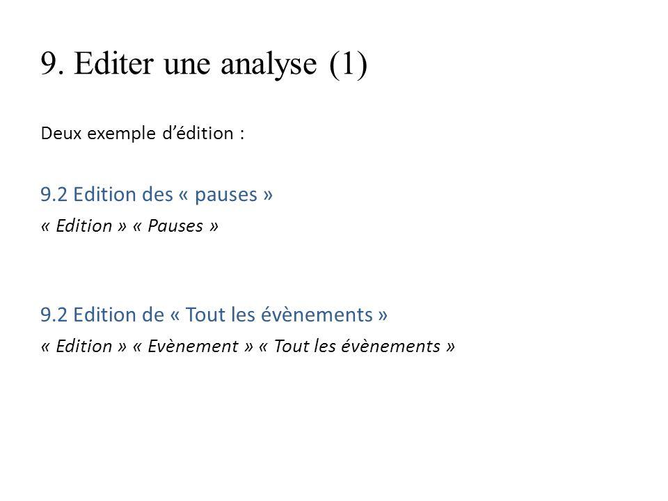 9. Editer une analyse (1) Deux exemple dédition : 9.2 Edition des « pauses » « Edition » « Pauses » 9.2 Edition de « Tout les évènements » « Edition »