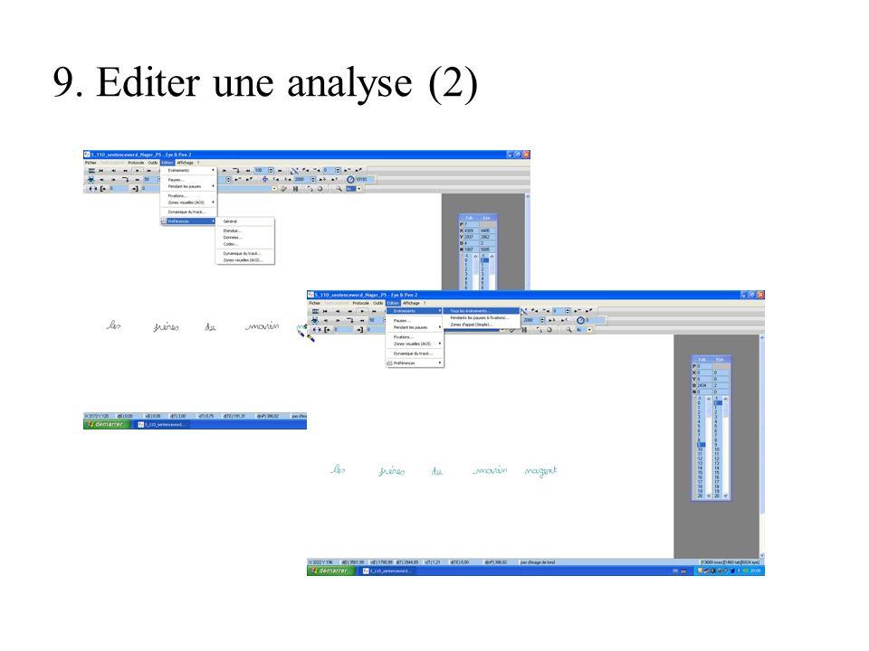 9. Editer une analyse (2)