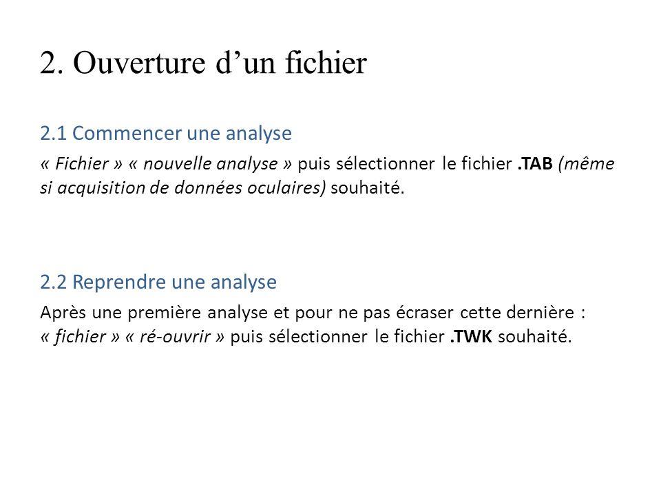 2. Ouverture dun fichier 2.1 Commencer une analyse « Fichier » « nouvelle analyse » puis sélectionner le fichier.TAB (même si acquisition de données o