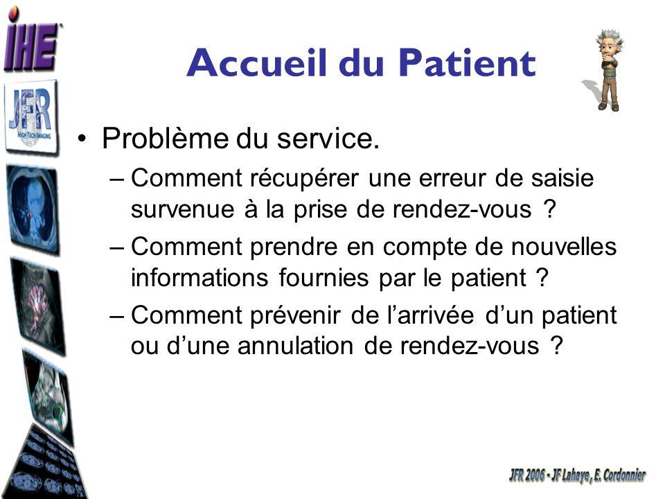 Accueil du Patient Problème du service. –Comment récupérer une erreur de saisie survenue à la prise de rendez-vous ? –Comment prendre en compte de nou