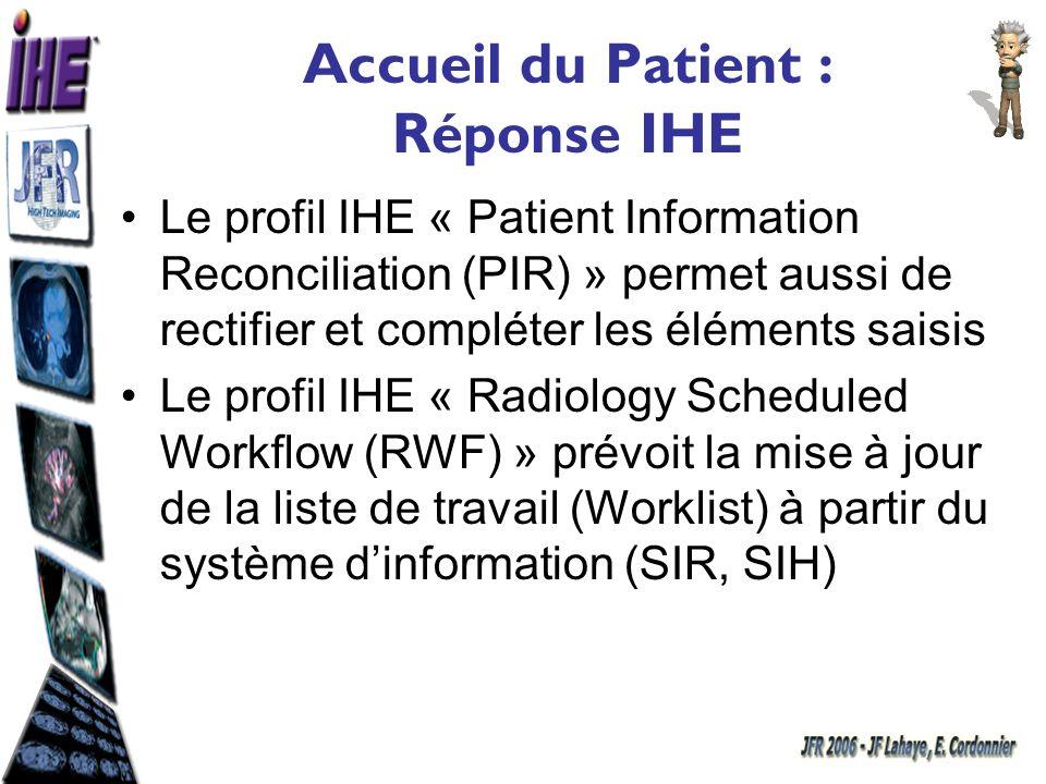 Accueil du Patient : Réponse IHE Le profil IHE « Patient Information Reconciliation (PIR) » permet aussi de rectifier et compléter les éléments saisis