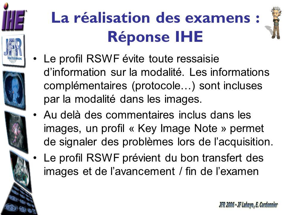 La réalisation des examens : Réponse IHE Le profil RSWF évite toute ressaisie dinformation sur la modalité. Les informations complémentaires (protocol