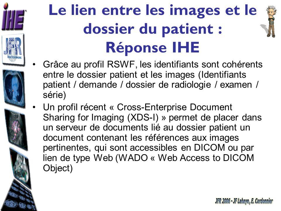 Le lien entre les images et le dossier du patient : Réponse IHE Grâce au profil RSWF, les identifiants sont cohérents entre le dossier patient et les