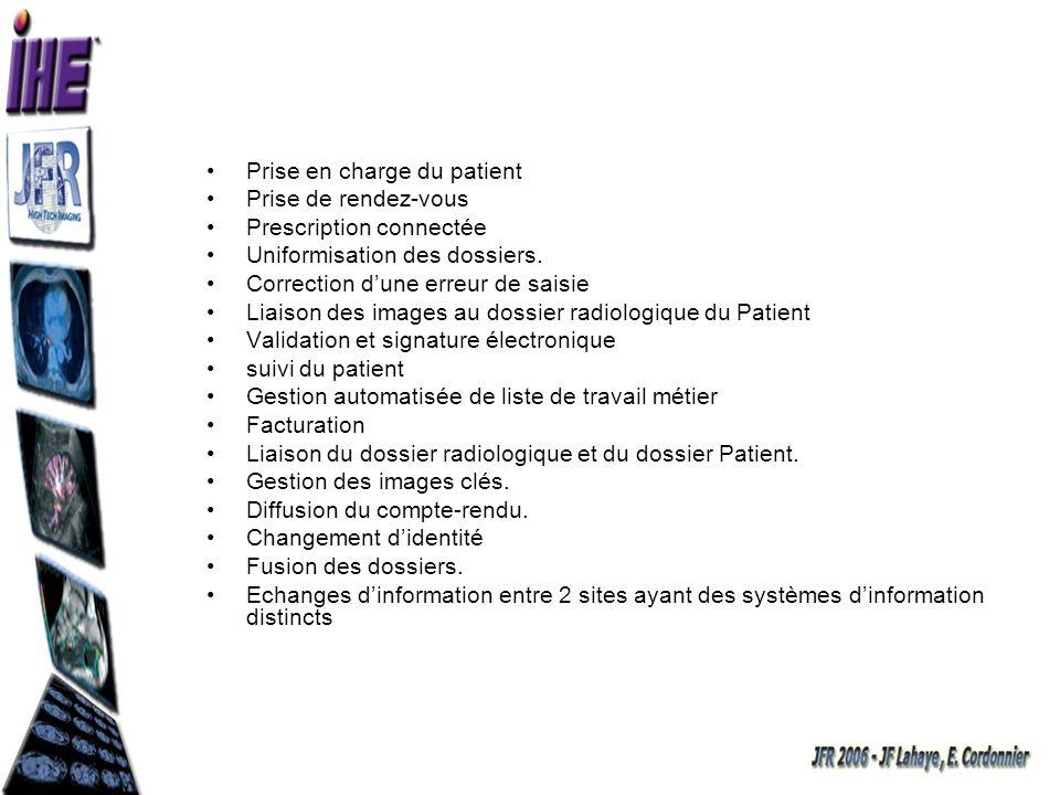 Prise en charge du patient Prise de rendez-vous Prescription connectée Uniformisation des dossiers. Correction dune erreur de saisie Liaison des image