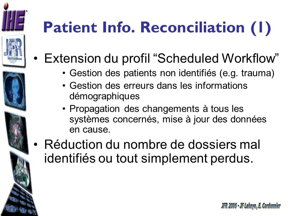 Patient Info. Reconciliation (1) Extension du profil Scheduled Workflow Gestion des patients non identifiés (e.g. trauma) Gestion des erreurs dans les