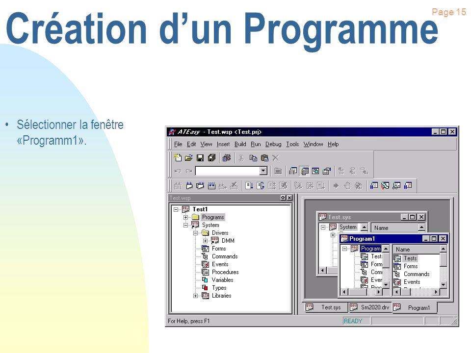 Page 14 Création dun Programme Cliquer à l aide du bouton droit de la souris sur «Programs». Cliquer sur le menu «New Program».