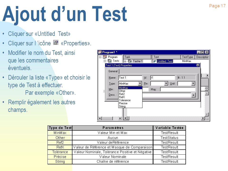 Page 16 Ajout dune Tâche Cliquer sur «Test» Cliquer à l aide du bouton droit de la souris sur «Test» Cliquer sur le menu «Insert Object Below». Clique