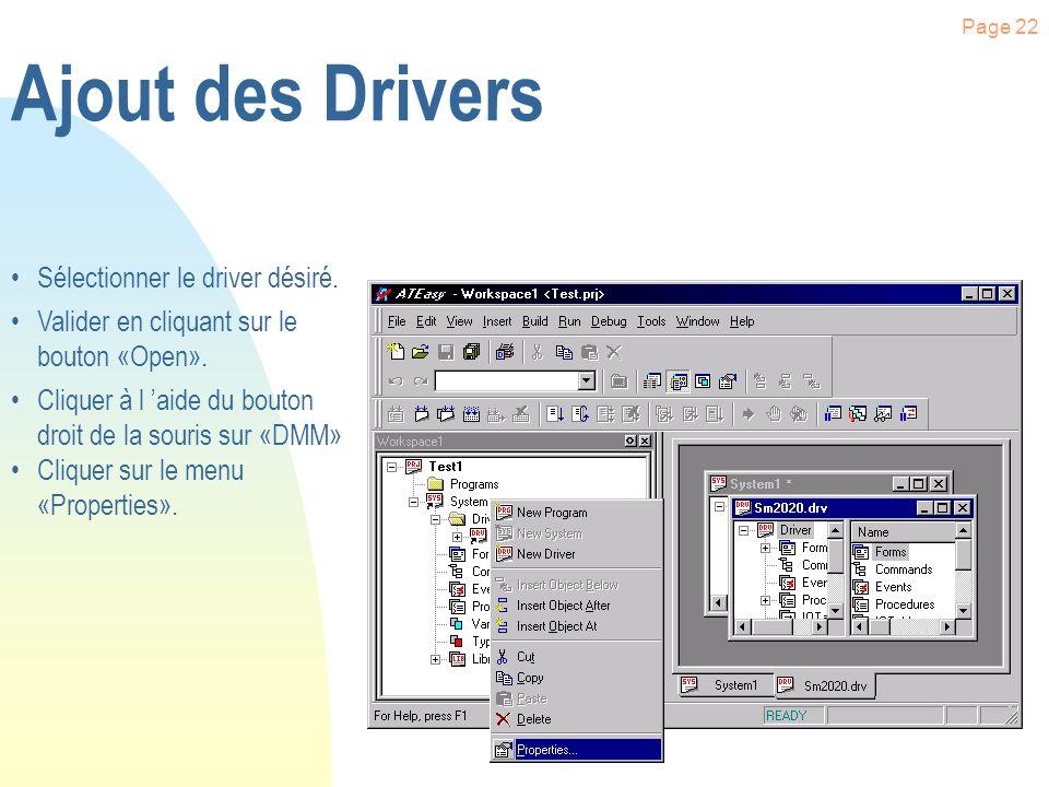 Page 21 Ajout des Drivers Cliquer sur «System» pour le dérouler. Sélectionner «Driver». Cliquer à l aide du bouton droit de la souris sur «Driver» Cli