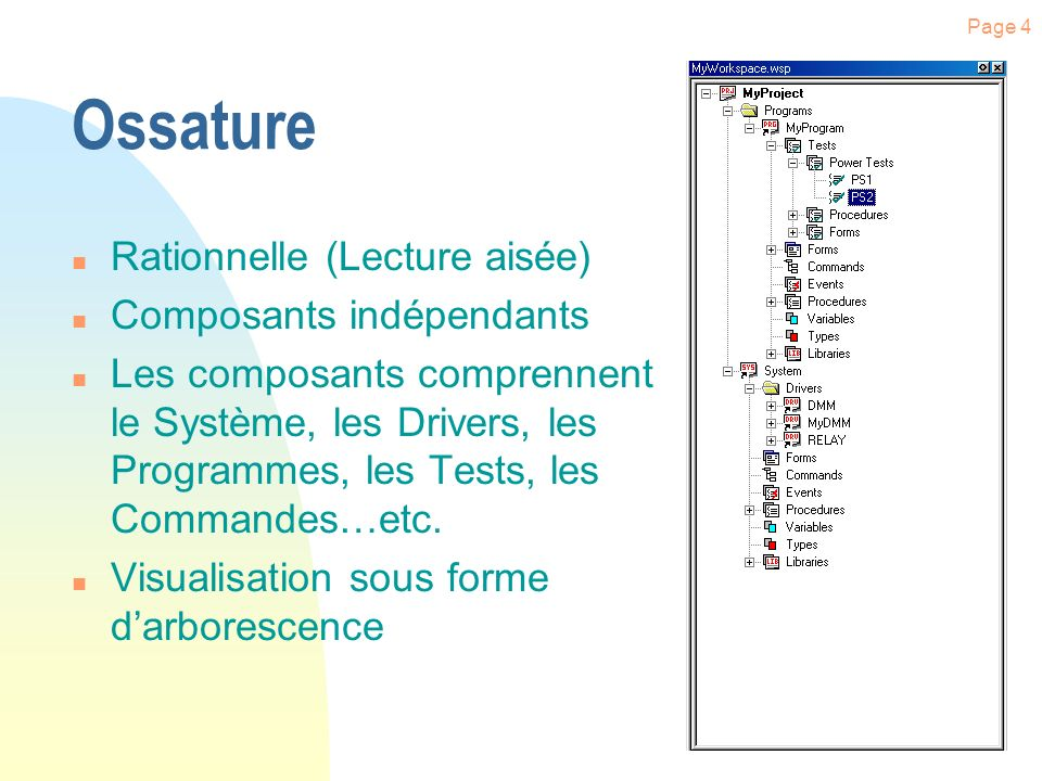 Page 4 Ossature n Rationnelle (Lecture aisée) n Composants indépendants n Les composants comprennent le Système, les Drivers, les Programmes, les Tests, les Commandes…etc.