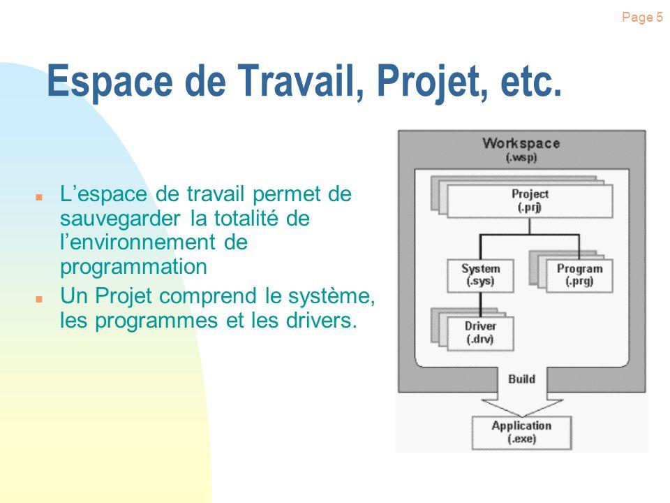 Page 5 Espace de Travail, Projet, etc.