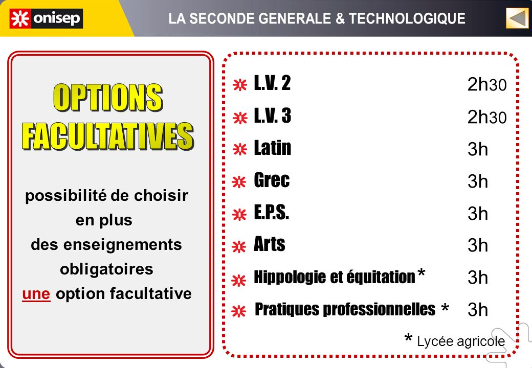 L.V. 2 L.V. 3 Latin Grec E.P.S. Arts Hippologie et équitation Pratiques professionnelles L.V. 2 L.V. 3 Latin Grec E.P.S. Arts Hippologie et équitation