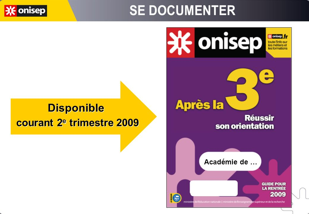 Académie de … Disponible courant 2 e trimestre 2009 Disponible courant 2 e trimestre 2009