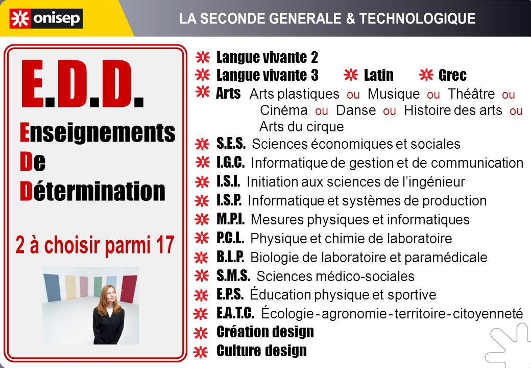 Enseignements De Détermination E.D.D.E.D.D. Langue vivante 2 Langue vivante 3 Latin Grec Arts Arts plastiques ou Musique ou Théâtre ou Cinéma ou Danse