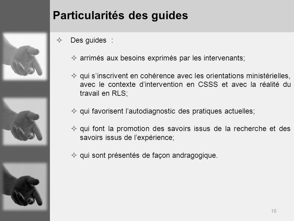 16 Particularités des guides Des guides : arrimés aux besoins exprimés par les intervenants; qui sinscrivent en cohérence avec les orientations minist