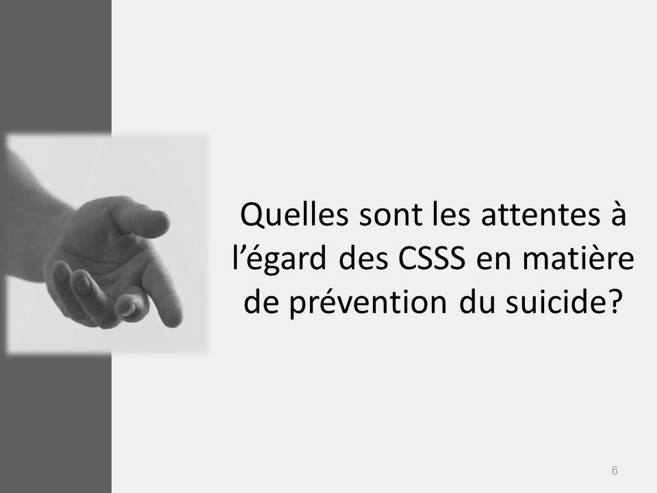 6 Quelles sont les attentes à légard des CSSS en matière de prévention du suicide?