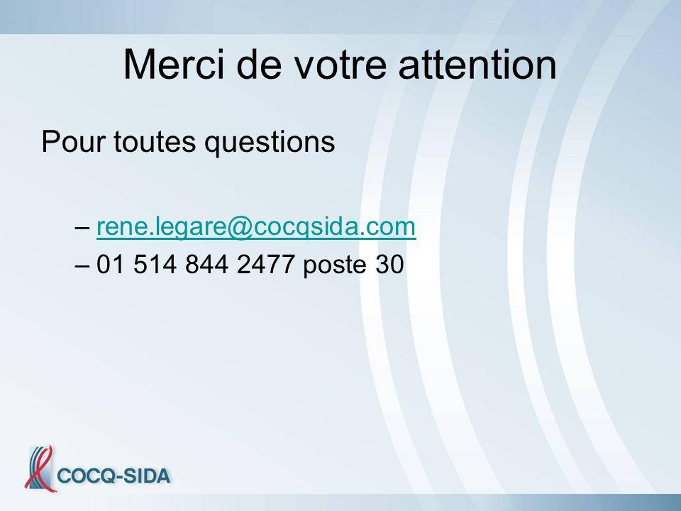 Merci de votre attention Pour toutes questions –rene.legare@cocqsida.comrene.legare@cocqsida.com –01 514 844 2477 poste 30