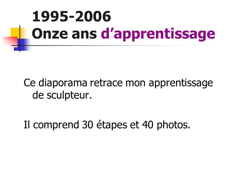 1995-2006 Onze ans dapprentissage Rétrospective Ce diaporama retrace mon apprentissage de sculpteur. Il comprend 30 étapes et 40 photos.