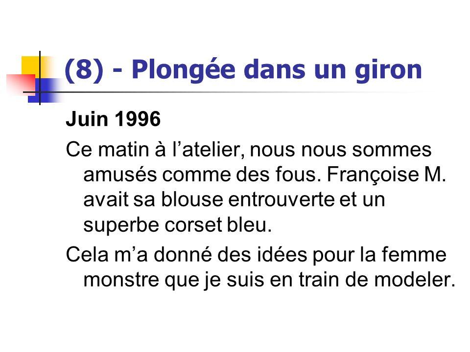 (8) - Plongée dans un giron Juin 1996 Ce matin à latelier, nous nous sommes amusés comme des fous. Françoise M. avait sa blouse entrouverte et un supe