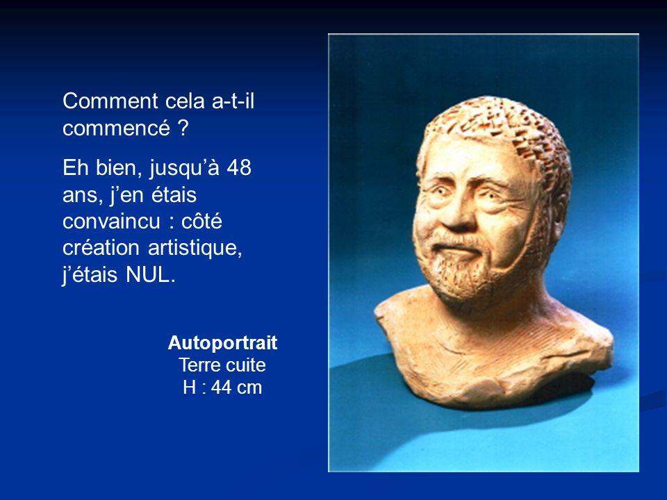 Autoportrait Terre cuite H : 44 cm Comment cela a-t-il commencé ? Eh bien, jusquà 48 ans, jen étais convaincu : côté création artistique, jétais NUL.
