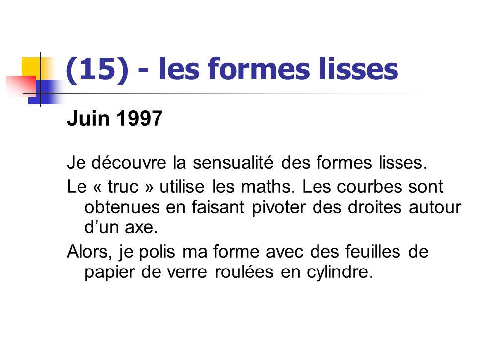 (15) - les formes lisses Juin 1997 Je découvre la sensualité des formes lisses. Le « truc » utilise les maths. Les courbes sont obtenues en faisant pi
