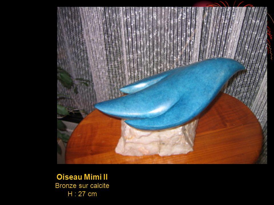 Oiseau Mimi II Bronze sur calcite H : 27 cm