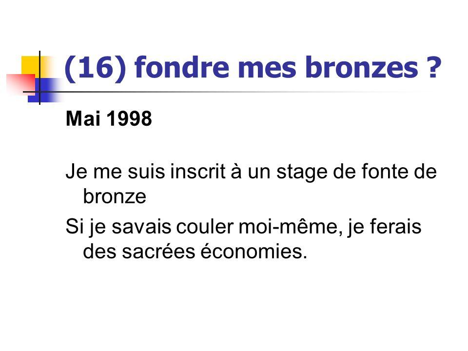 (16) fondre mes bronzes ? Mai 1998 Je me suis inscrit à un stage de fonte de bronze Si je savais couler moi-même, je ferais des sacrées économies.
