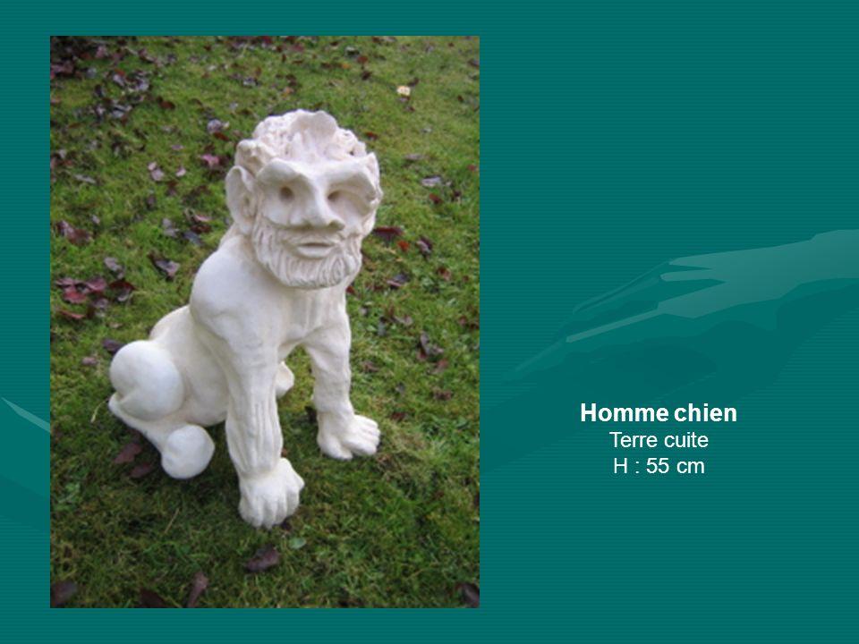 Homme chien Terre cuite H : 55 cm